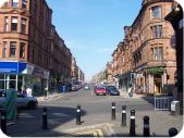 Bottom of Byres Road looking up from Dumbarton Road