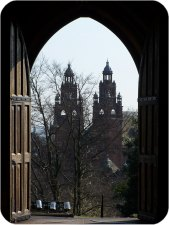 Looking down towards Kelvingrove Art Gallery & Musuem from the University