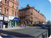 Junction at Dumbarton Road / Byres Road, Partick, Glasgow West End